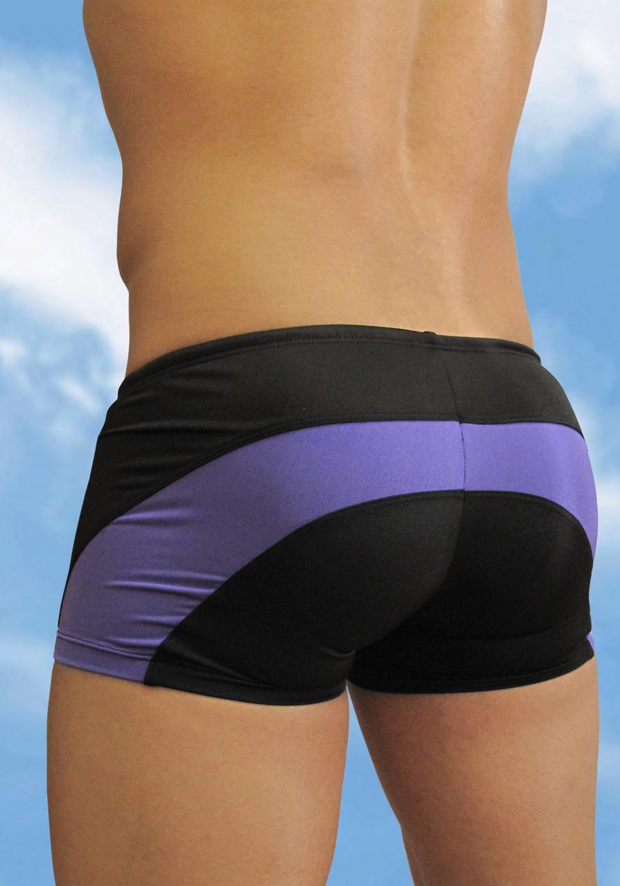 Men's Black-indigo swimsuit mini trunk with enhancing FEEL pouch - back